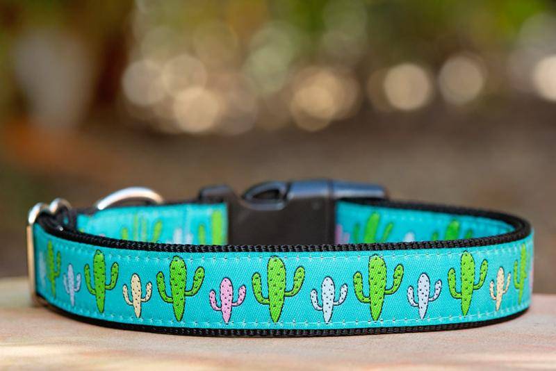 "Pastel Cactus Dog Collar / XS-XL-Dog Collar-Dizzy Dog Collars-Extra Small 5/8"" (1.5cm) Wide-Dizzy Dog Collars"