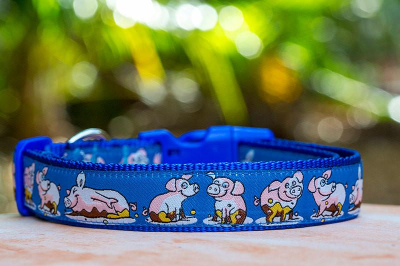 "Piggy Dog Collar / XS-XL-Dog Collar-Dizzy Dog Collars-Extra Large 1"" (2.5cm) Wide-Dizzy Dog Collars"