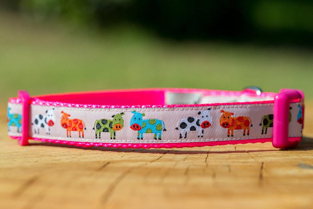 "Pink Cows Dog Collar XS-XL-Dog Collar-Dizzy Dog Collars-Extra Small 5/8"" (1.5cm) Wide-Dizzy Dog Collars"