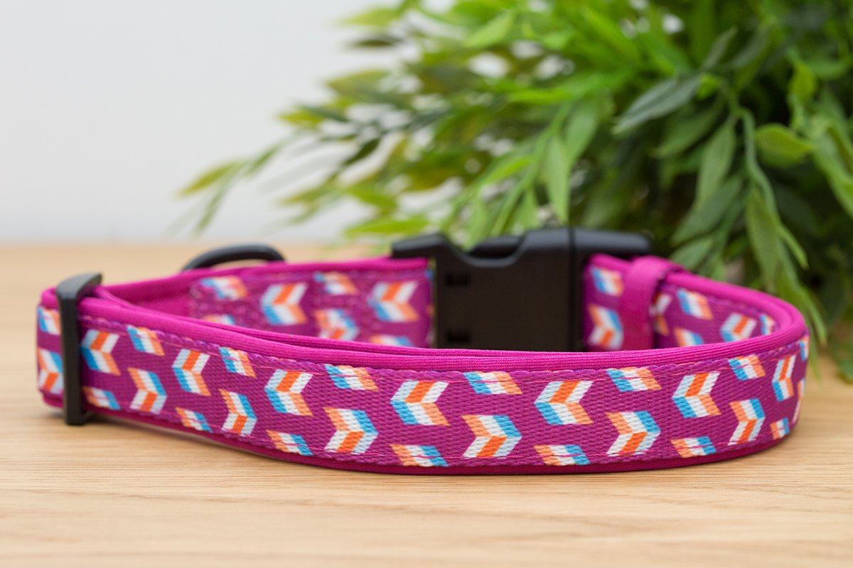 Pink Herringbone Dog Collar (Neoprene)-Dog Collar-Dizzy Dog Collars-Extra Small 1.5cm Wide-Dizzy Dog Collars