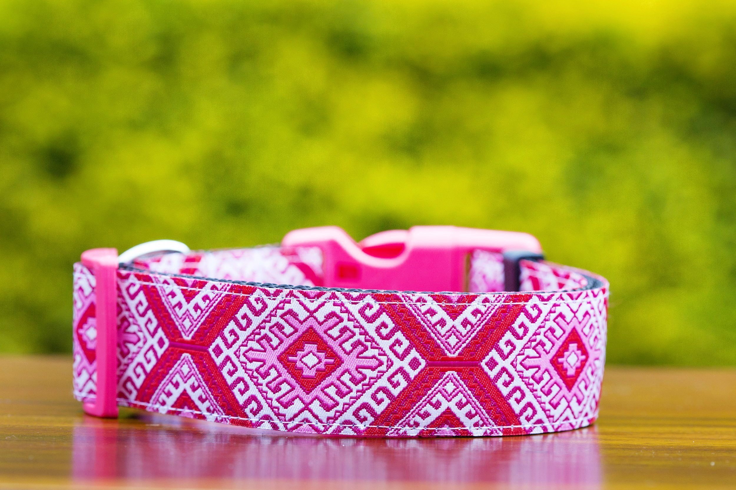 "Pink Mexican Dog Collar 1.5"" Wide-Dog Collar-Dizzy Dog Collars-Medium-Dizzy Dog Collars"