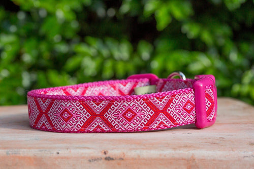 Pink Mexican Dog Collar / XS-XL (Handmade to order) *Currently unavailable whilst we catch up on handmade orders*