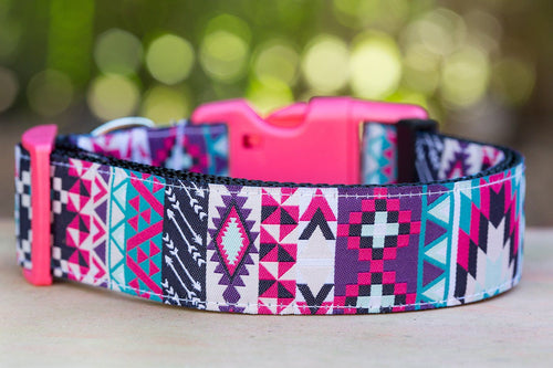 "Pink & Purple Aztec Dog Collar 1.5"" Wide (Handmade to order)"