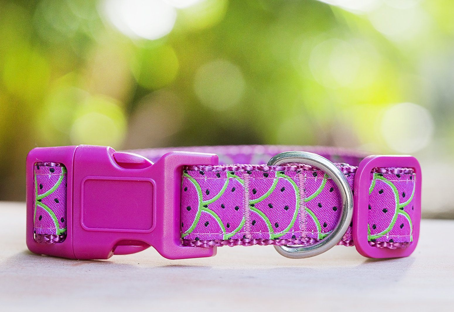 "Pink Watermelon Dog Collar XS-XL-Dog Collar-Dizzy Dog Collars-Extra Small 5/8"" (1.5cm) Wide-Dizzy Dog Collars"