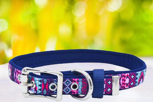Purple Aztec - Belt Buckle Dog Collar