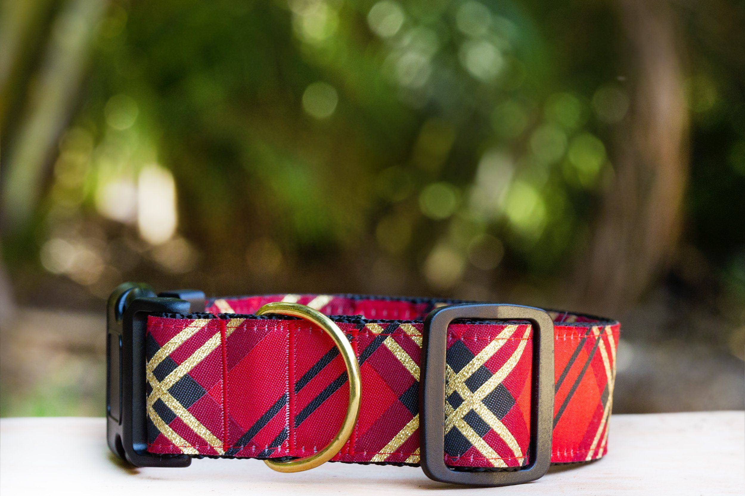 "Red & Gold Christmas Plaid Dog Collar 1.5"" Wide / Big Dog Collar-Dog Collar-Dizzy Dog Collars-Medium-Clip Buckle-Dizzy Dog Collars"
