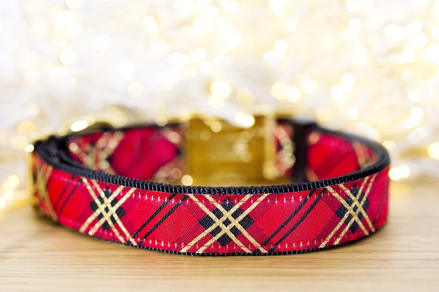 "Red & Gold Plaid Christmas Dog Collar / XS-XL-Dog Collar-Dizzy Dog Collars-XS 5/8"" (1.5cm) Wide Black Buckle-Dizzy Dog Collars"