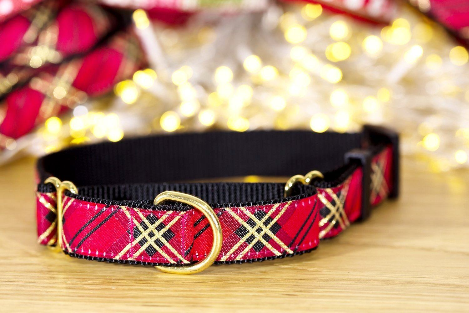 "Red & Gold Plaid Martingale Dog Collar / S-XL-Dog Collar-Dizzy Dog Collars-Small 3/4"" (2cm) Wide-Dizzy Dog Collars"