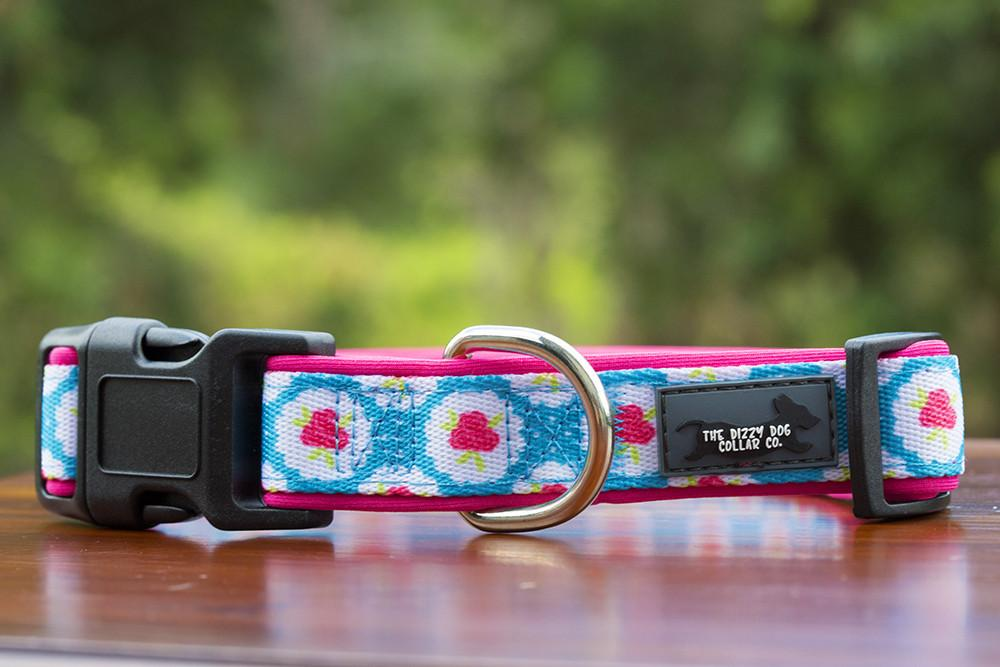 Roses Dog Collar, Neoprene Padded Dog Collar-Dog Collar-Dizzy Dog Collars-Large-Dizzy Dog Collars