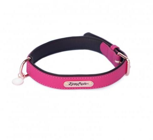 Vivid Collection Leather Dog Collar - Magenta