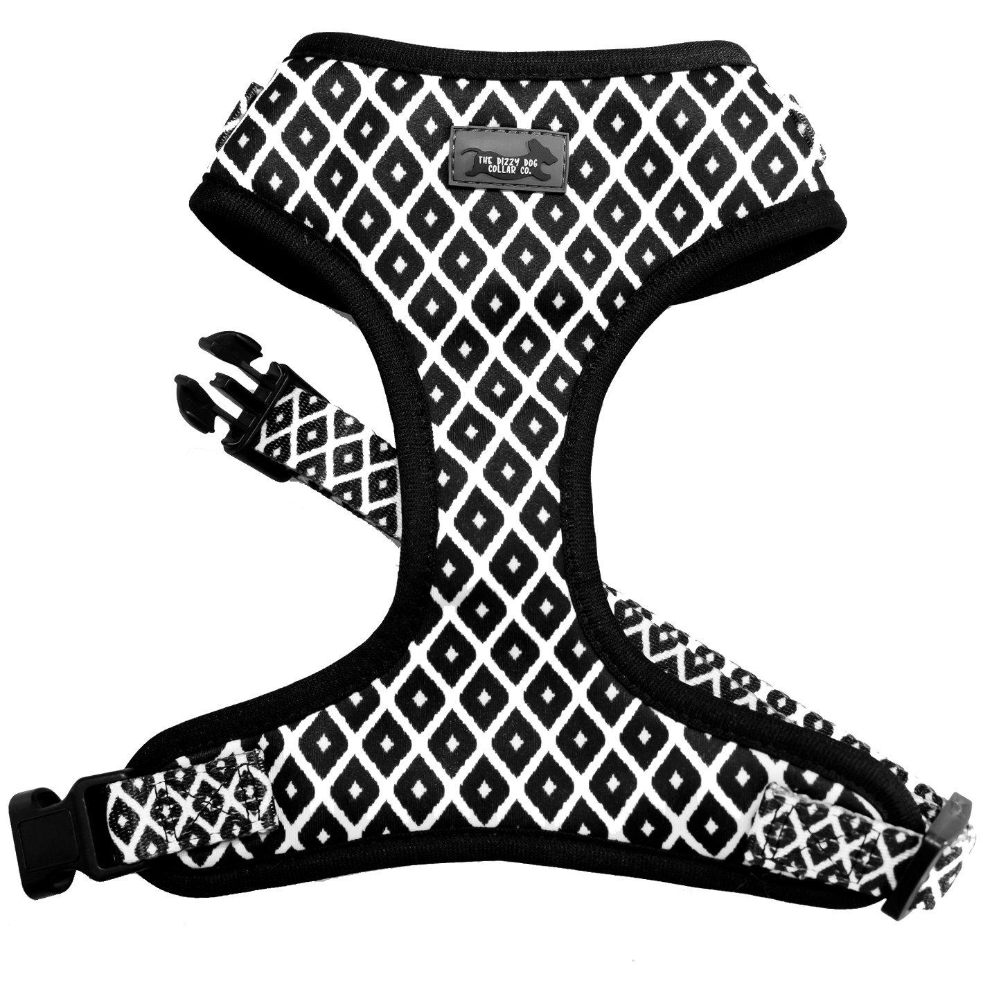 black and white dog harness, dog harnesses, classic dog harness with adjustable neck