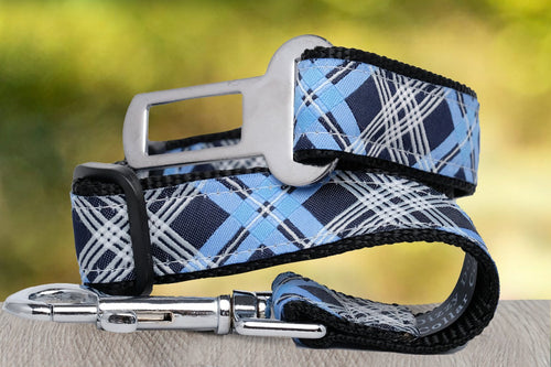 Dog Car Seatbelt / Dog Car Restraint Tether - Blue Plaid (Nylon) (Handmade to order)