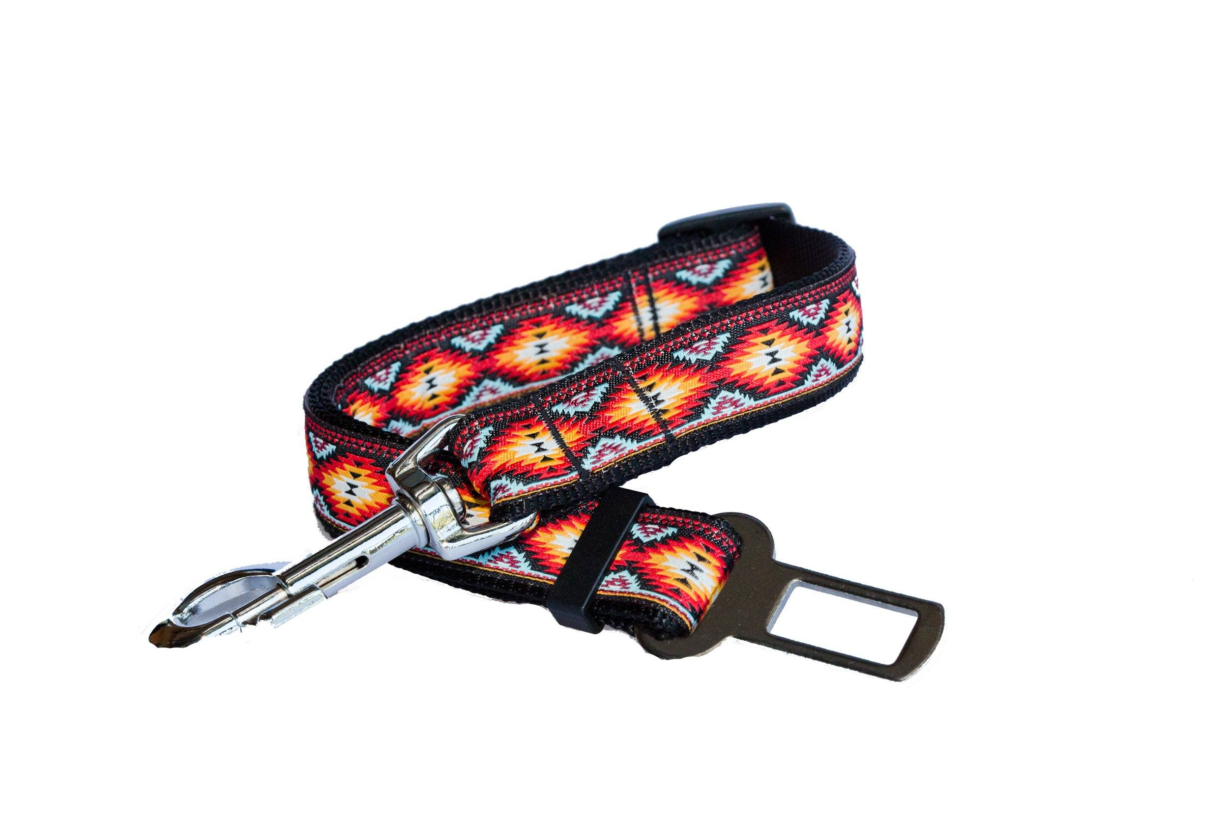 "Dog Seatbelt - Navajo-Dizzy Dog Collars-2cm (3/4"") Wide-Dizzy Dog Collars"