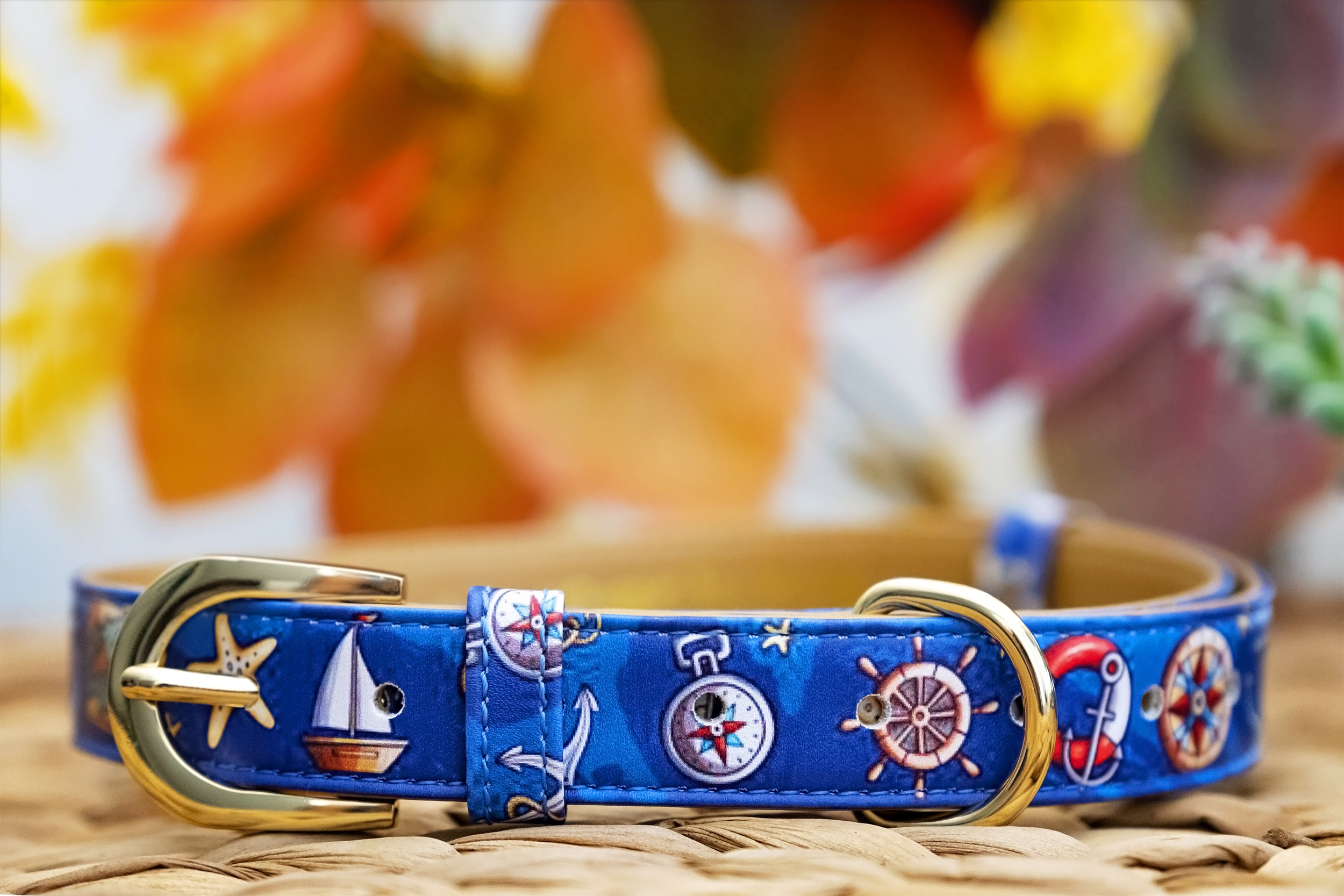 The Easy Breezy: Gold Nautical, Vegan Leather Dog Collar (Premade)-Dog Collar-Dizzy Dog Collars