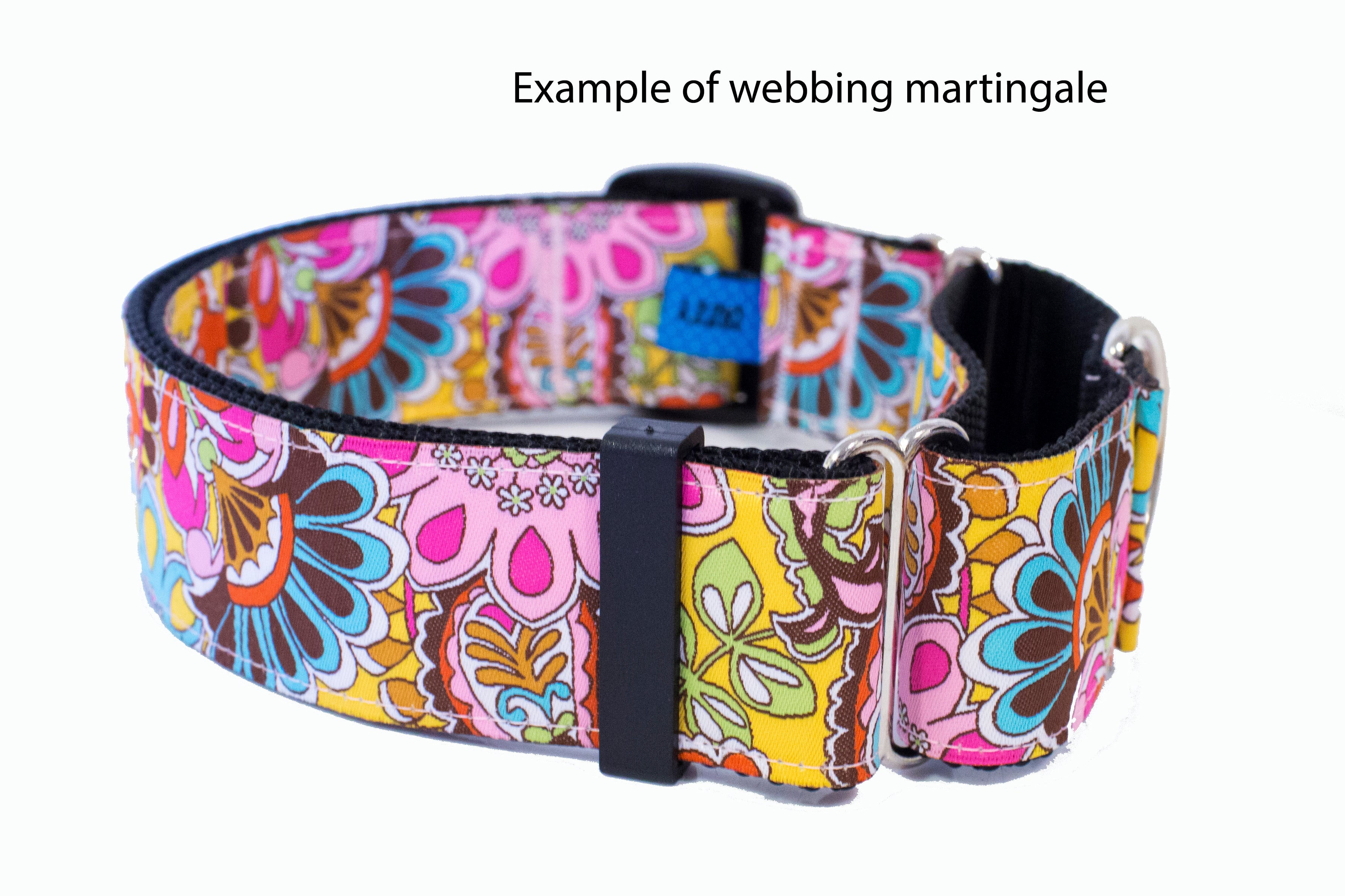 "Gold Butterflies Dog Collar 38mm (1.5"") Wide / Buckle or Martingale (Handmade to order)-Dog Collar-Dizzy Dog Collars"