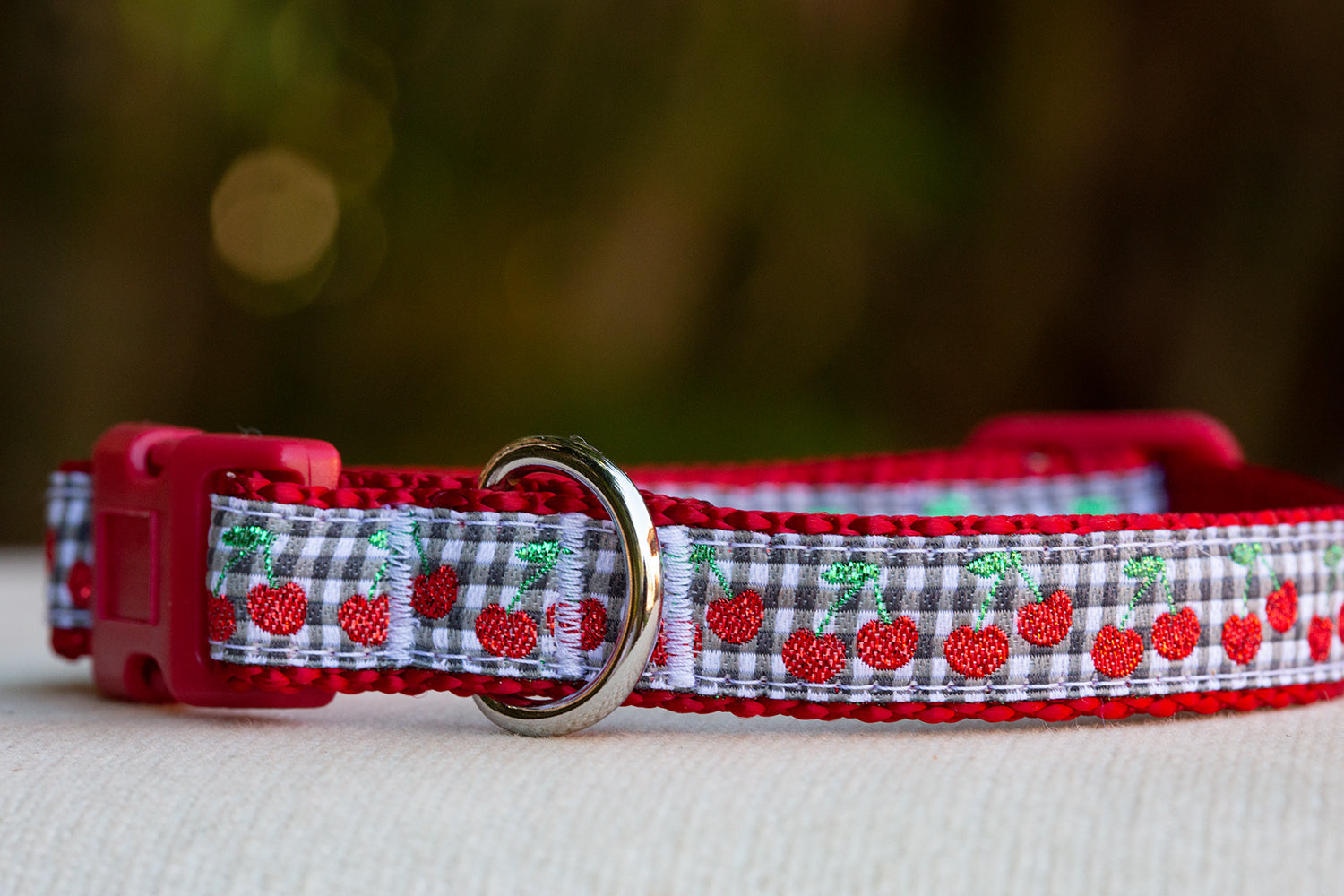 Glitter Cherries Dog Collar / Nylon Dog Collar-Dog Collar-Dizzy Dog Collars