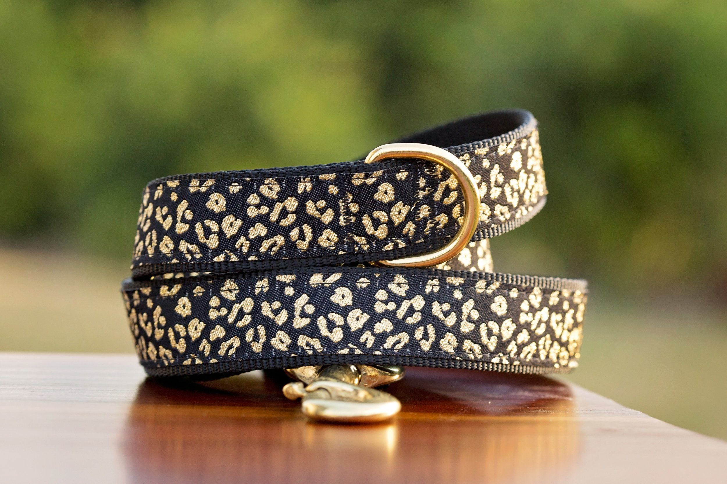 Gold Leopard Print Dog Leash / Leopard Dog Lead