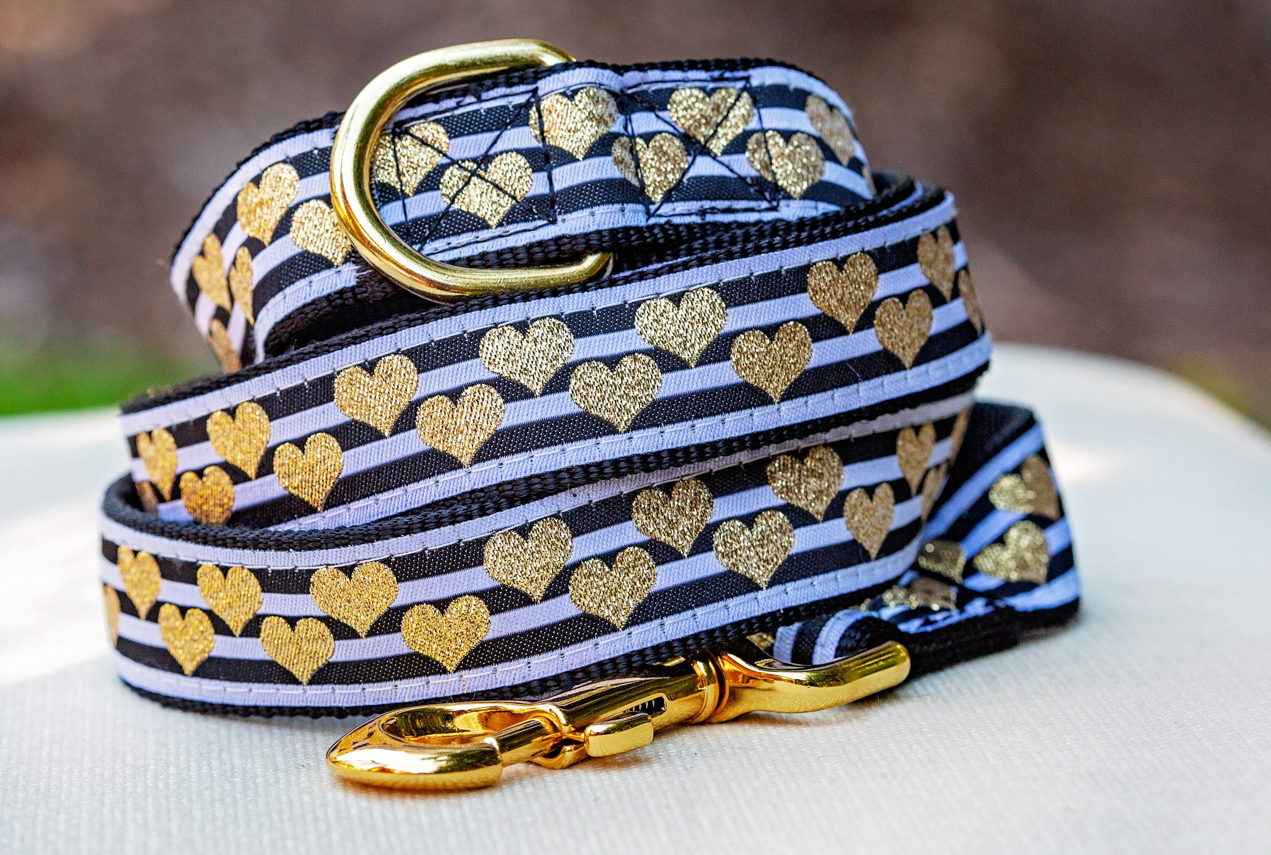 Gold Hearts Dog Leash / Ready to Ship / Nylon Dog Lead-Dizzy Dog Collars