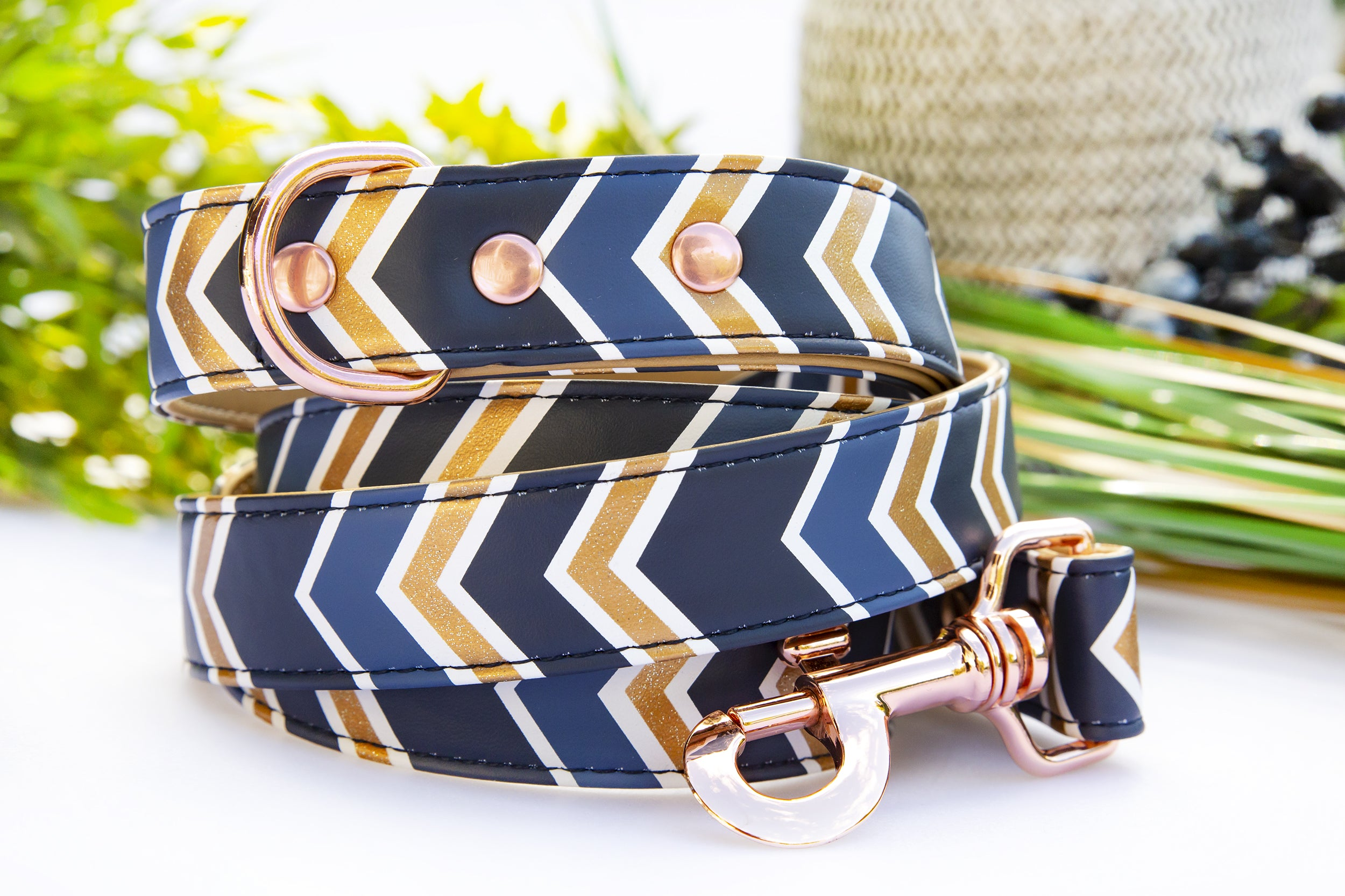 Glitter Navy Chevron: Rose Gold, Vegan Leather Dog Leash (Premade)-Dog Collar-Dizzy Dog Collars