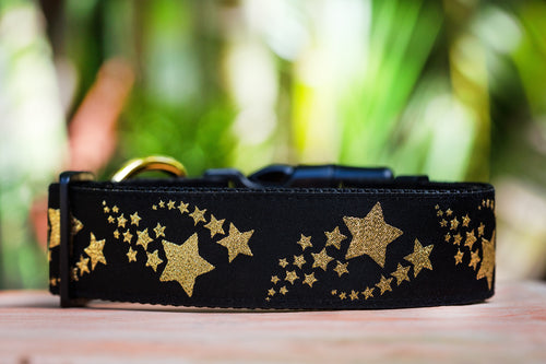 "Gold Shooting Stars Dog Collar 1.5"" Wide / Gold Glitter (Handmade to order)"