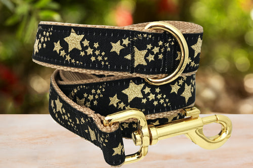 Gold Shooting Stars Dog Leash / Gold Dog Lead (Handmade to order) *Currently unavailable whilst we catch up on handmade orders*