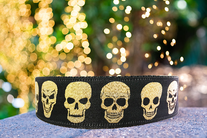 "Gold Skulls Dog Collar 38mm (1.5"") Wide / Gold Glitter/ Buckle or Martingale-Dog Collar-Dizzy Dog Collars-Medium - Buckle-Dizzy Dog Collars"