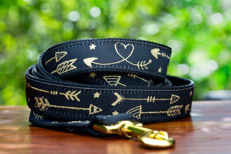 Golden Arrows Dog Leash / Gold Dog Lead-Dizzy Dog Collars-Dizzy Dog Collars