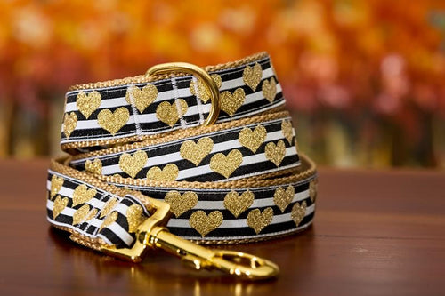Golden Hearts Dog Leash / Gold Dog Lead / Gold Heart (Handmade to order)