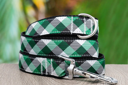 Green Plaid Dog Lead (Nylon) (Handmade to order)