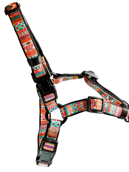 DOG HARNESS  - Front Clip Dog Harness - Rustic Aztec (Neoprene)