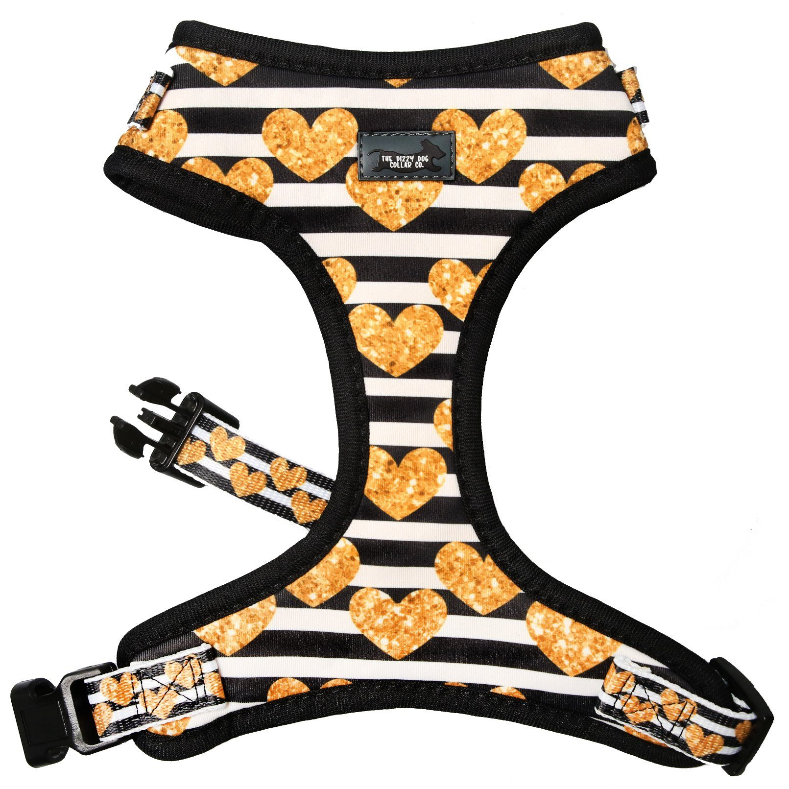 dog harness with hearts on it, small dog harness, this is the best small dog harness, Golden Hearts Dog Harness