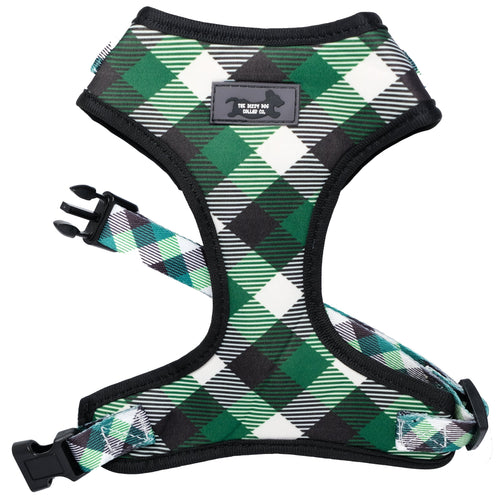 DOG HARNESS - Green Plaid - Neck Adjustable Dog Harness (made to order in 2 days))