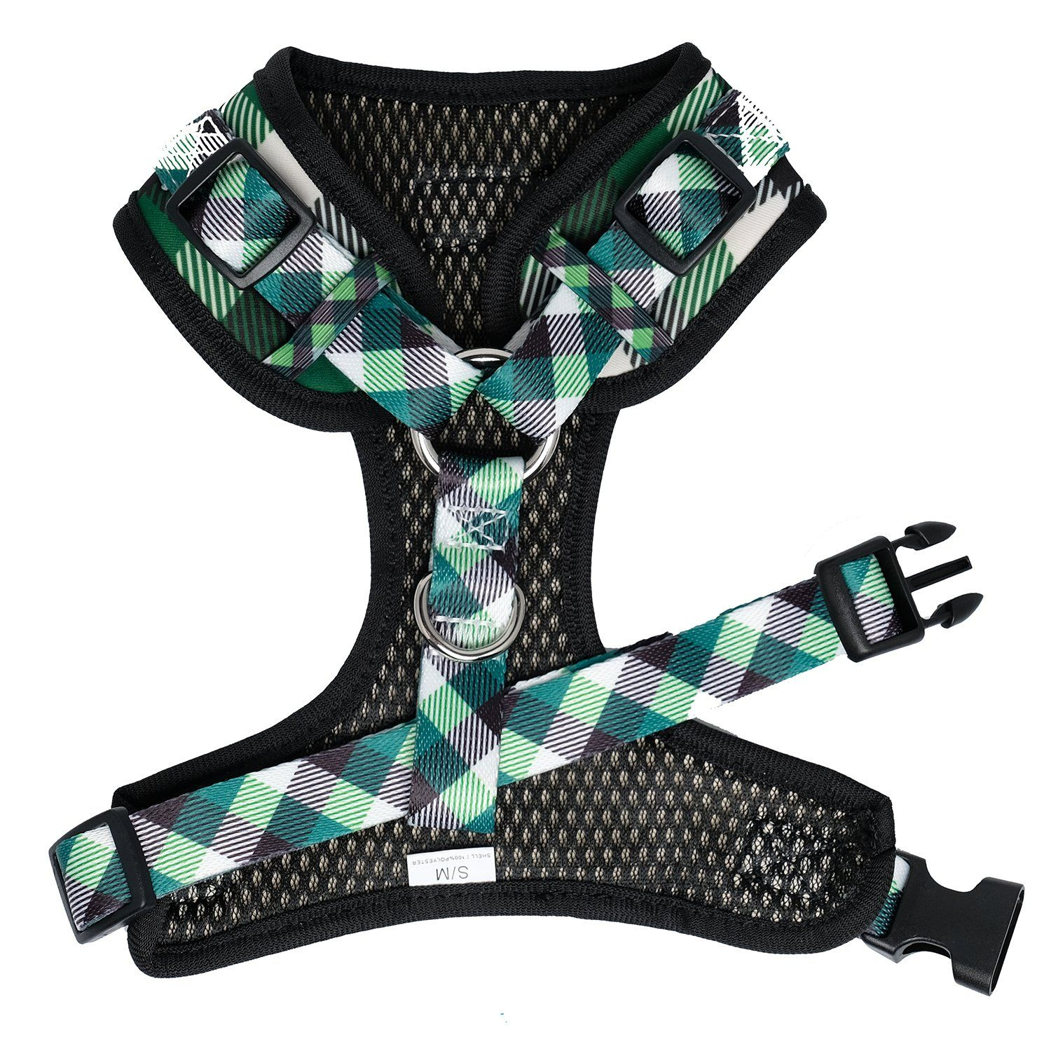 plaid dog harness, adjustable dog harness, neck adjustable dog harness