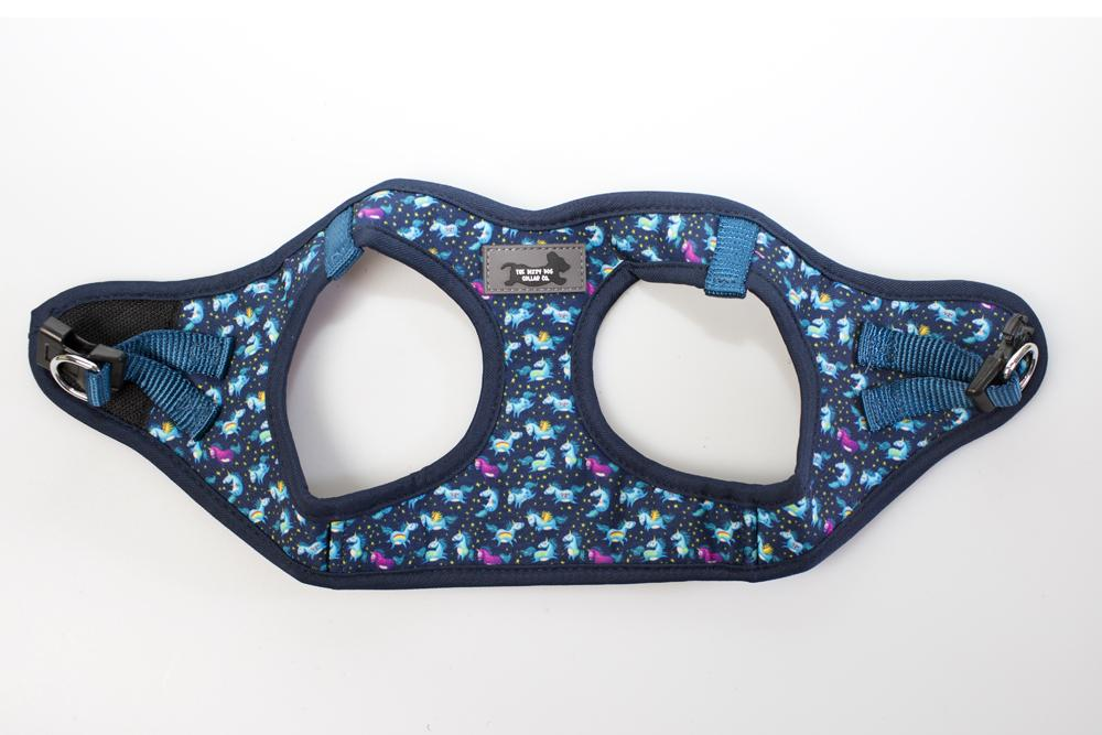 DOG HARNESS - Navy Unicorn - Step In  Dog Harness