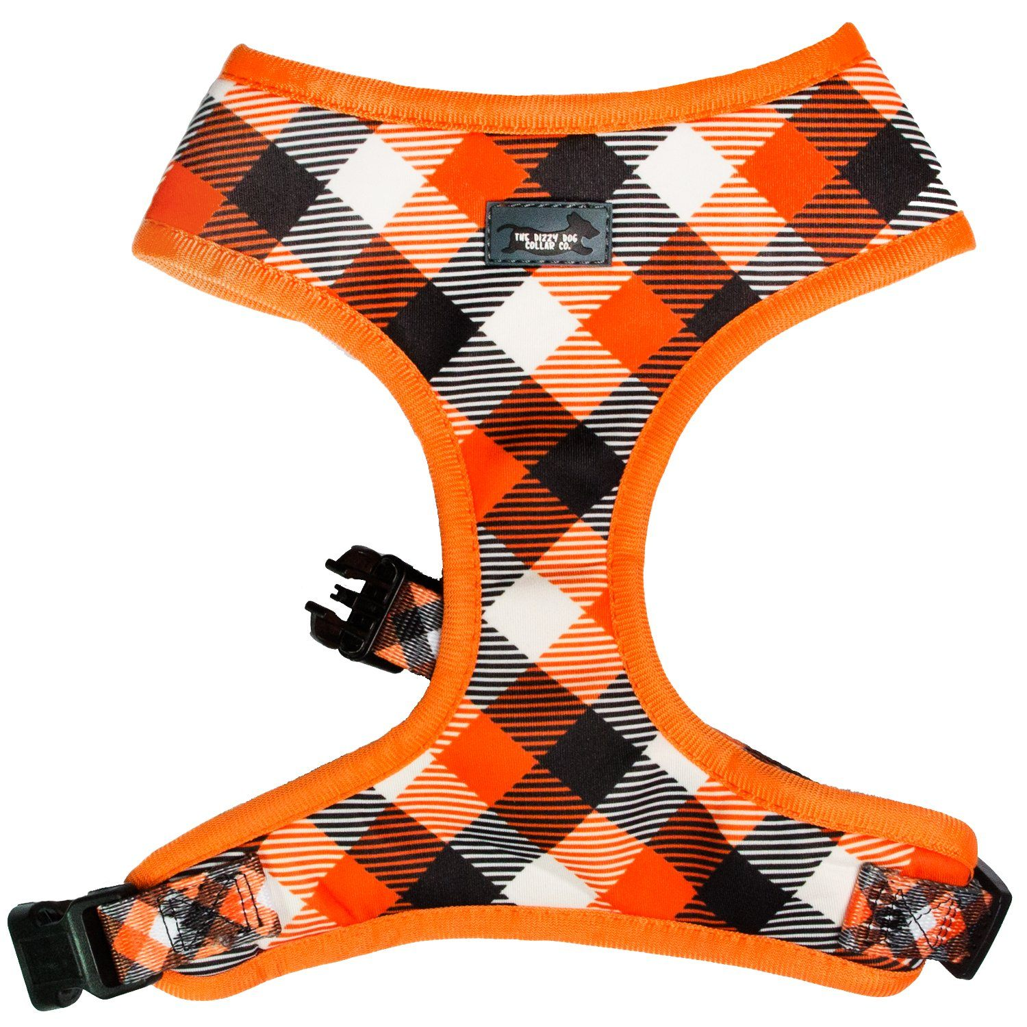 plaid dog harness, bright orange plaid dog harness perfect for the fall or all year round