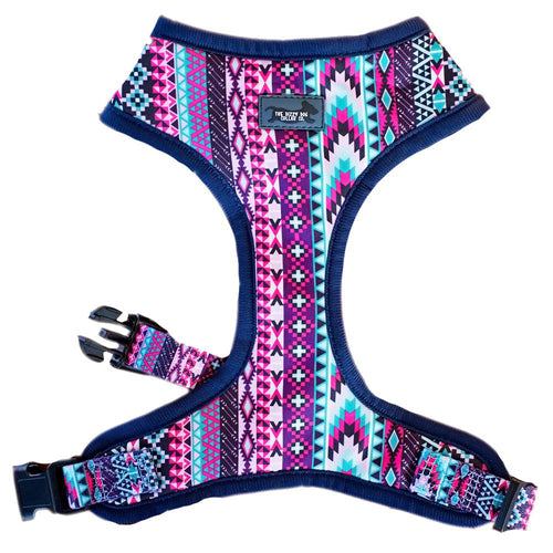 DOG HARNESS - Purple Aztec - Neck Adjustable