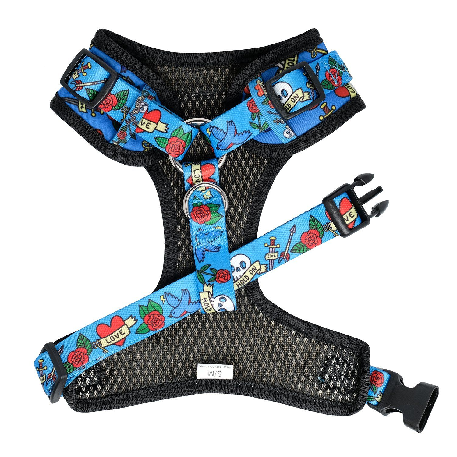 tattoo dog collar and harness, Australian neck adjustable dog harness