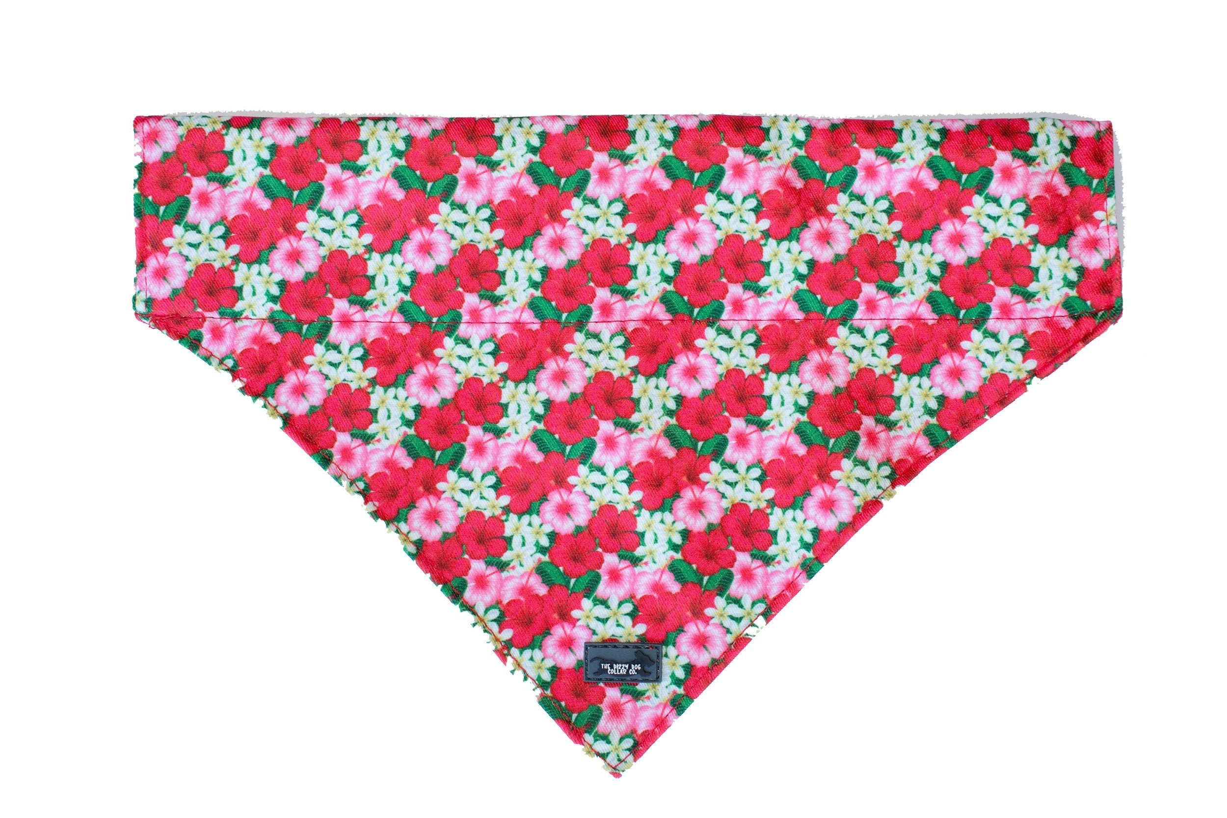 Hibiscus Dog Bandana - Slip on / Over the collar bandana-Dizzy Dog Collars-Dizzy Dog Collars