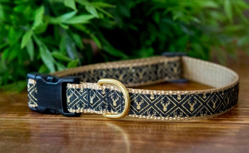 Golden Stag Dog Collar (On Tan Nylon) (Handmade to order)-Dog Collar-Dizzy Dog Collars