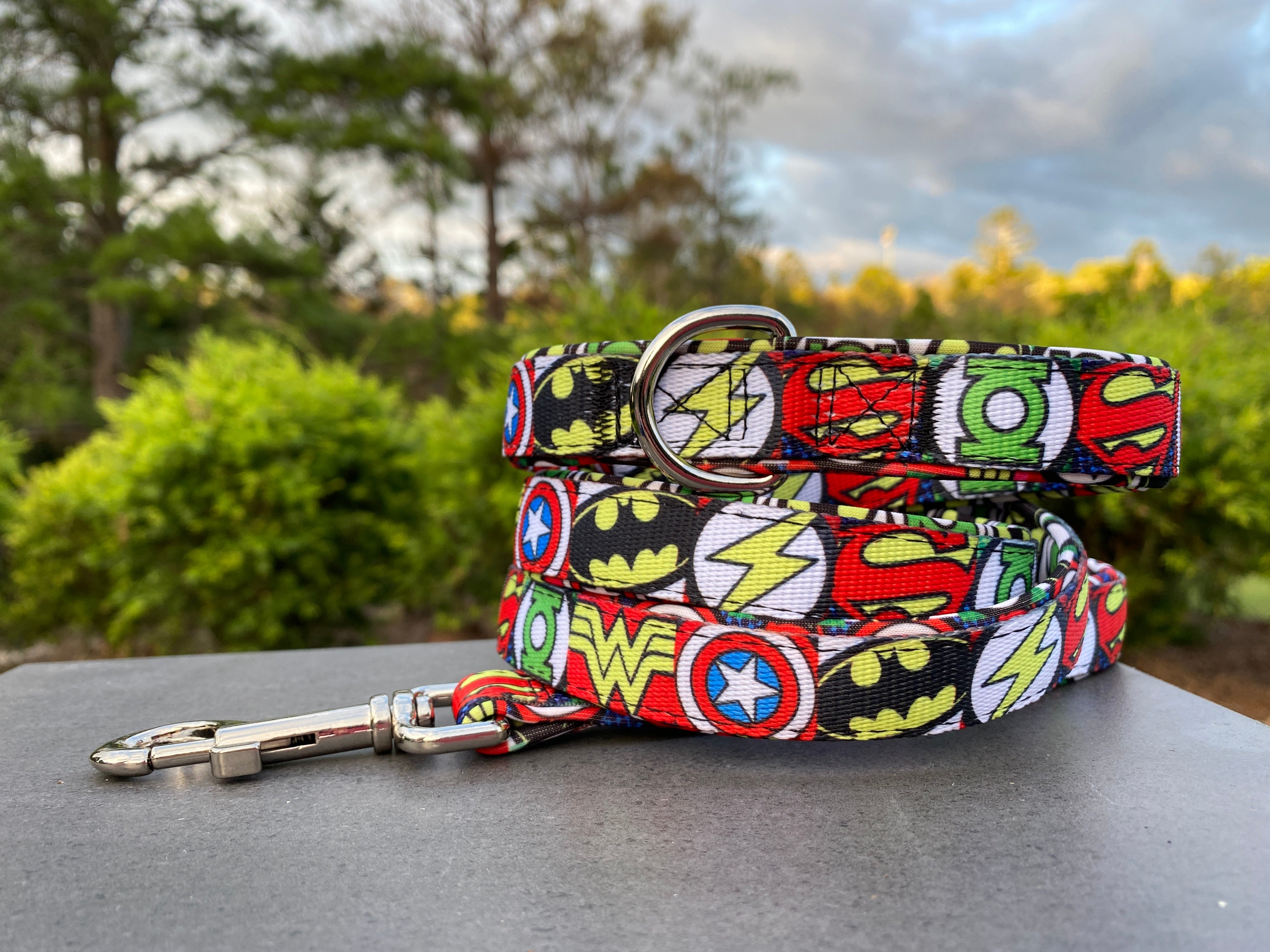 Superhero Dog Leash, fully padded dog lead-Leash-Dizzy Dog Collars