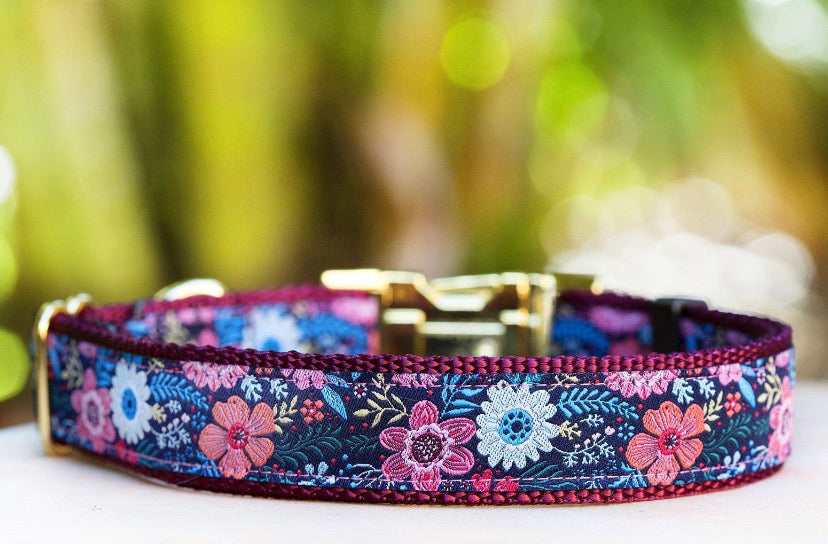 Martingale Collar - Burgundy floral-Dizzy Dog Collars