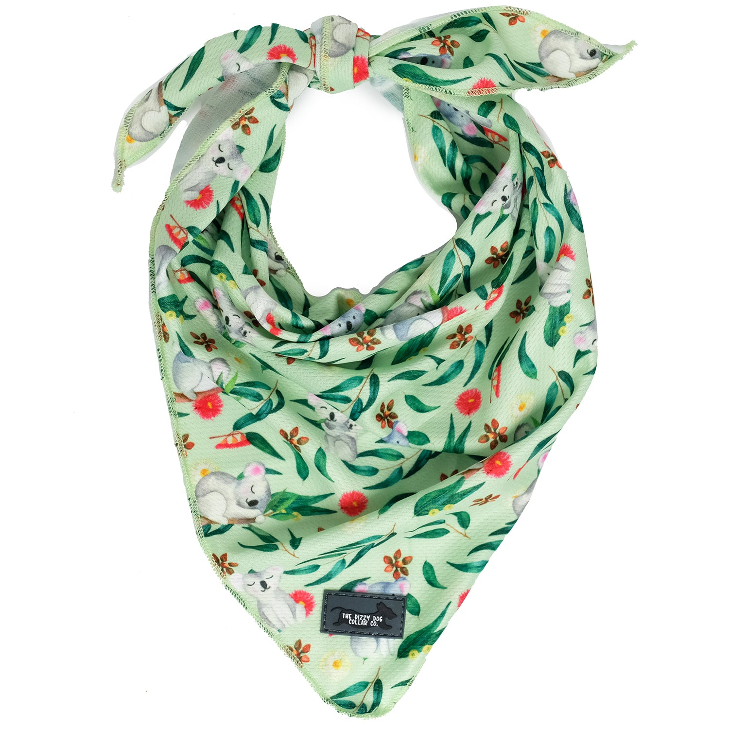Show your pride of our Australian wildlife with this cute dog bandana featuring koalas and eucalyptus leaves. Designed by Dizzy Dog Collars Australia, this bandana is perfect for big and little dogs.