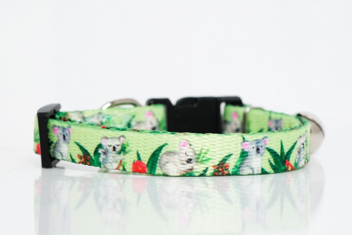 koala print cat collar in light green, cat collars australia, cute cat collars and unique cat collars by Dizzy Dog Collars