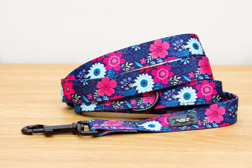 Dog Leash - Navy Floral
