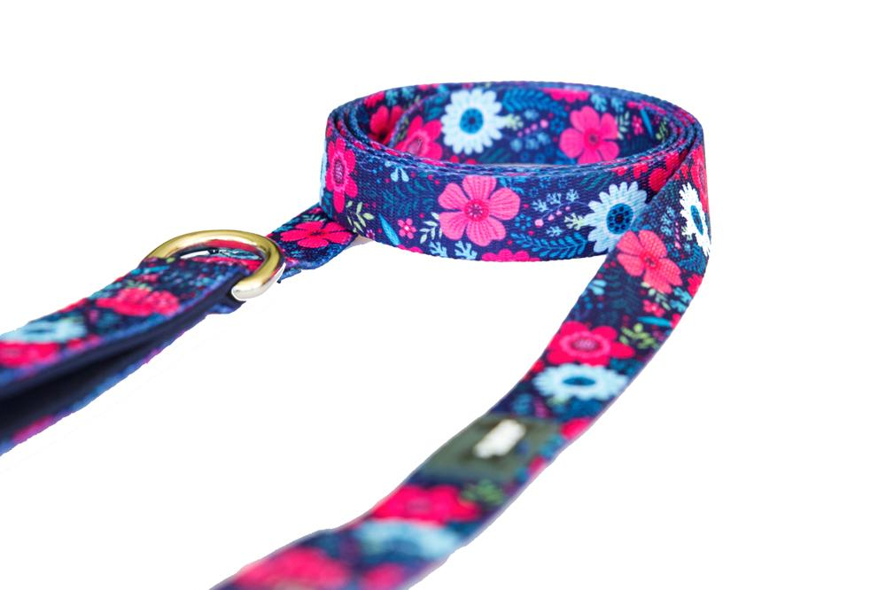 Dog Leash - Navy Floral-Dizzy Dog Collars-Dizzy Dog Collars