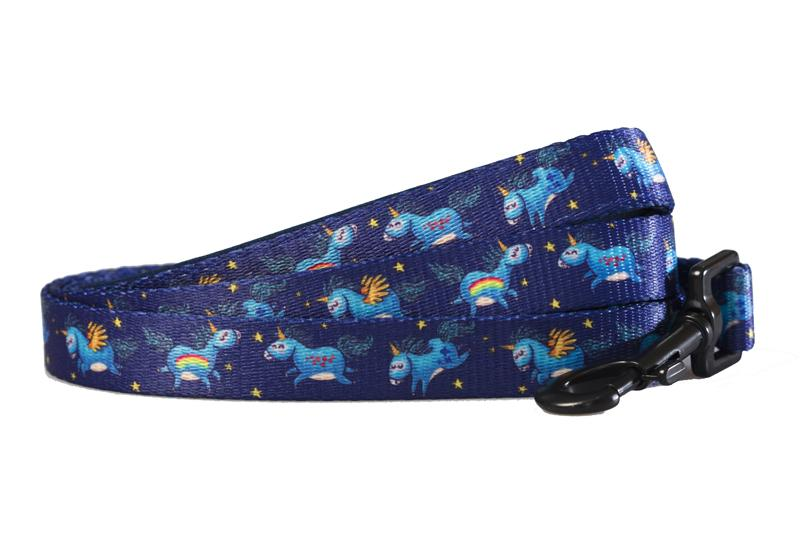 Navy Unicorn - Dog Leash-Dizzy Dog Collars-Dizzy Dog Collars