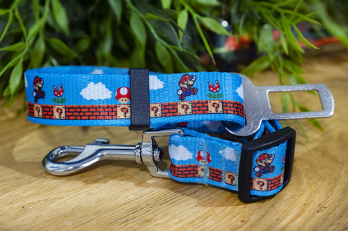 Dog Car Seatbelt / Dog Car Restraint Tether - Mario Bros. (Handmade to order)