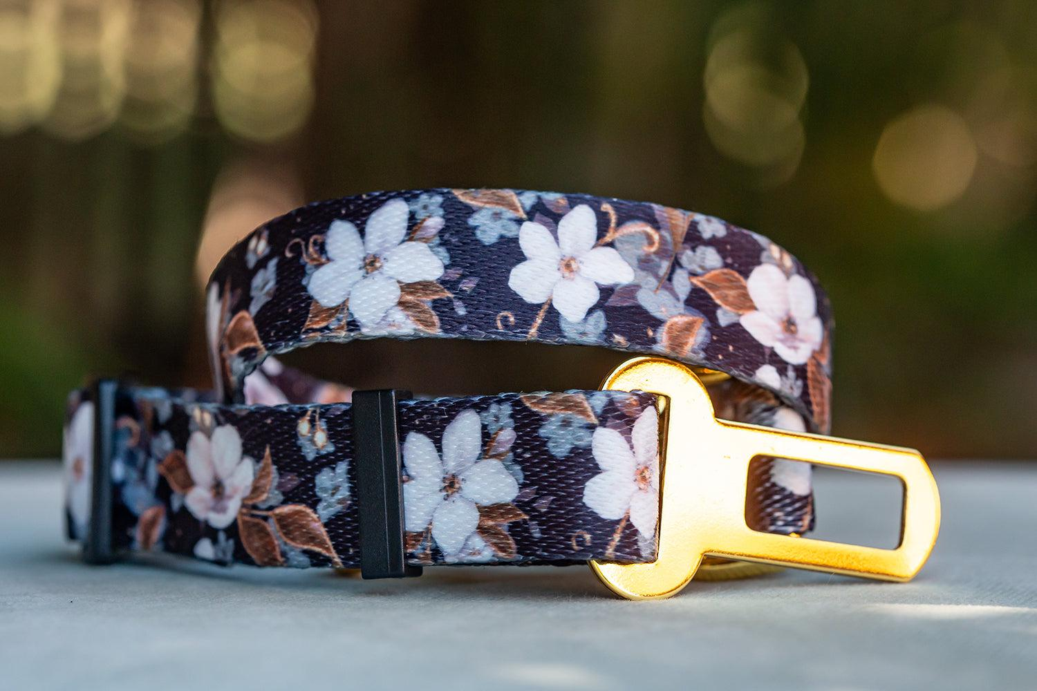 Dog Seatbelt - Midnight Cherry Blossoms-Dizzy Dog Collars