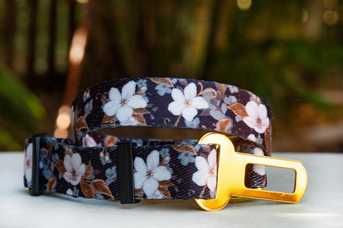 Dog Car Seatbelt / Dog Car Restraint Tether - Midnight Cherry Blossoms