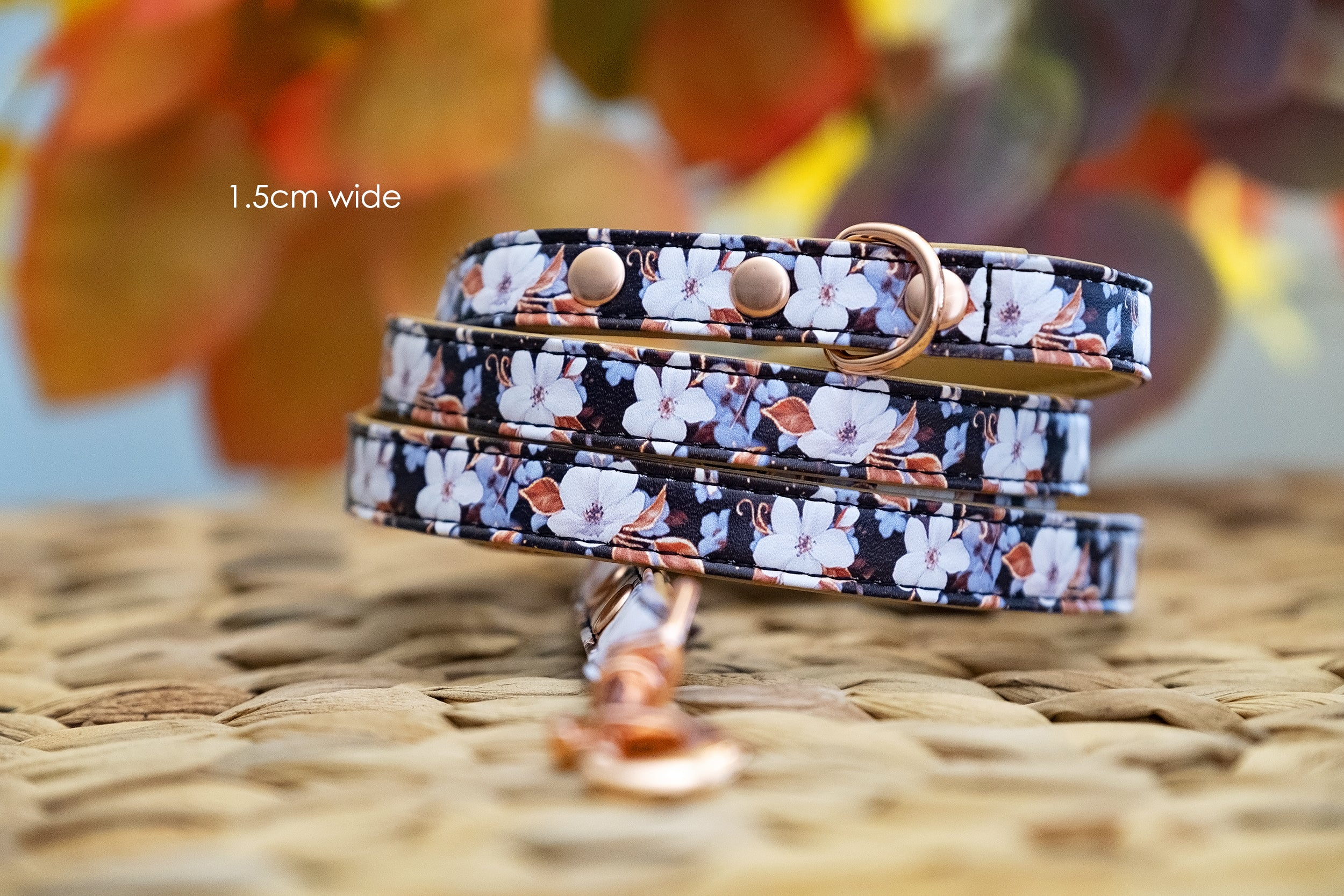 Midnight Cherry Blossoms: Rose Gold, Vegan Leather Dog Leash (Premade)-Dog Collar-Dizzy Dog Collars